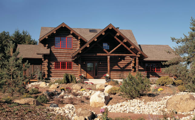Log Home designed by Architect Gordy Hughe, Manufactured by Maple Island Log Homes and Built by Custom Log Structures Photo Roger Wade Studios for Prefabulous