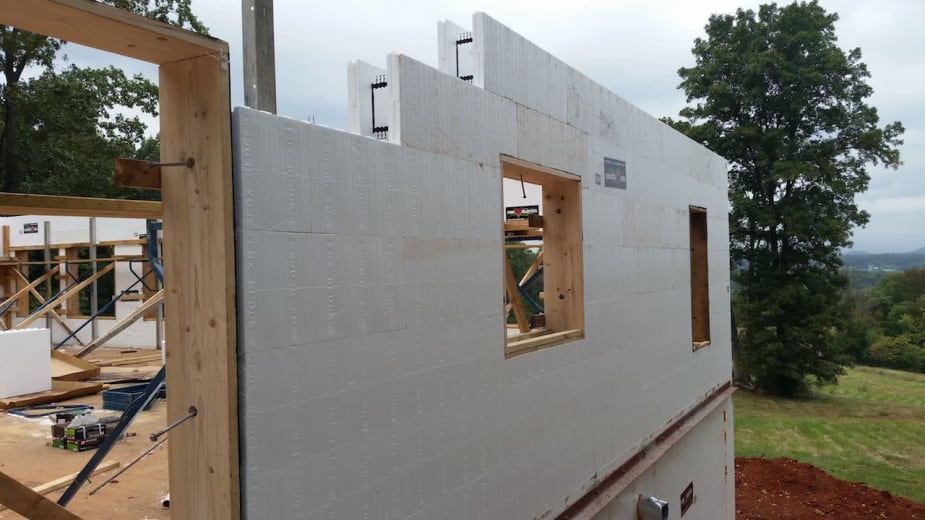 Side View of Fox Blocks Used for ICF Homes Project in Virginia Maria Saxton